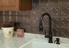 tin tile backsplash 25 + Great Kitchen Backsplashes at Remodelaholic #kitchen #backspash_ideas