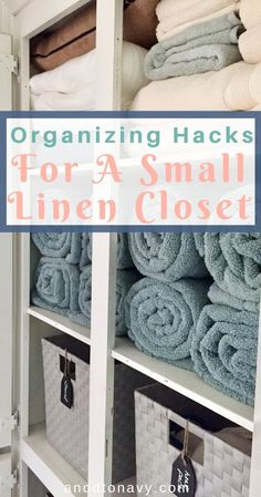 This small linen closet makeover is all about maximizing space and making your small closet work hard for you! Small Linen Closets, Bathroom Linen Closet, Small Closet Space, Small Spaces, Maximize Closet Space, Small Closet Storage, Master Bathroom, Linen Closet Organization, Small Space Organization
