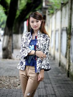 White with Dark Blue Design Chinese Clothing
