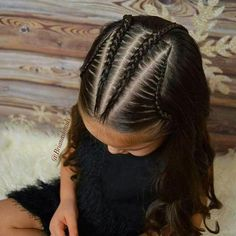 Cornrows, lace braids, and soft curls on this Sunday morning. Lil Girl Hairstyles, Kids Braided Hairstyles, Trendy Hairstyles, Hairstyles Videos, Kids Hairstyle, Makeup Hairstyle, Hairstyles 2016, Braided Updo, Braid And Curls Hairstyles