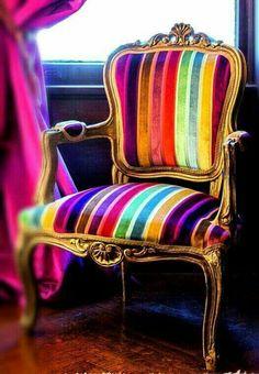 Regal Striped Velvet Louis Arm Chair