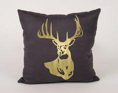 Deer Cotton Throw Pillow Cover  16x16 18x18 20x20 by Daneeyo