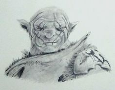 My graphite drawing of Azog from The Hobbit movie, in my sketchbook
