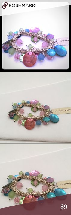 NWT Muticolored Bead and shell silver bracelet 💝 NWT Silver bracelet with multicolor beads and shells in a variety of pastels. Bracelet stretches to fit all wrist sizes. Price is firm.                                                     💋15% off bundles of 3 or more.                      💋 No trades.                                                           💋 No Holds.                                                          💋 No Sales outside of Poshmark Signature Studio Jewelry…