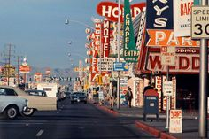Photographs by architect Denise Scott Brown that helped inform the development of the seminal postmodernism book she wrote with late husband Robert Venturi, Learning From Las Vegas, are part of an exhibition on view at a Manhattan gallery. Denise Scott Brown, York Art Gallery, Old Vegas, Arcade, New York Galleries, Cities, Vintage Neon Signs, Photography Exhibition, New York Art