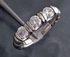 14k White Gold 3-Stone Channel Set Diamond Ring