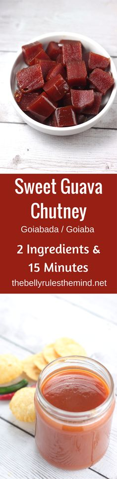 This sweet chutney is a much easier alternative to the traditional sweet tamarind date and jaggery chutney. Made with just 2 main ingredients, this is super easy to prepare and is ready in just 15 minutes. Goiaba / Goiabada Chutney | www.thebellyrulesthemind.net