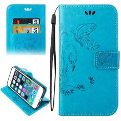 For+iPhone+5/5S/SE+Blue+Leather+Case+with+Holder+&+Card+Slots+&+Wallet+&+Lanyard