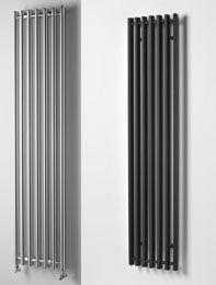 Chrome and matt black tall radiators