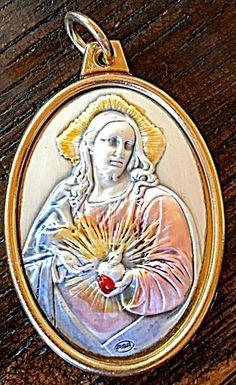 Large Sterling Enamel Sacred Heart Jesus Art Medal Gold Tone Pendant