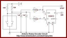 Rotary encoder with D flip-flop.