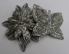 Ester Comb hand sewn bugle beads and crystals