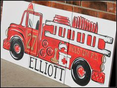 triptych red vintage fire truck. 54x24 original by sincerelyYOU