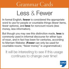 """Do you know when to use """"less"""" and when to use """"fewer""""?"""