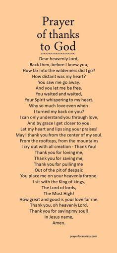Prayer of thanks to God