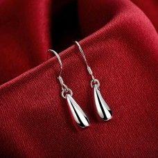 Coffee Bean 925 Silver Plated Drop Earrings