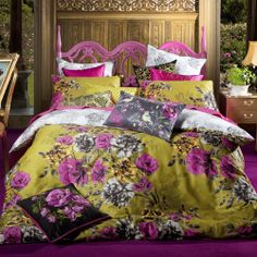 Mustard yellow, fuschia floral and slate grey print bedding to ad warmth to a light blue bedroom. Bed Linen Australia, Nursery Bedding Sets Girl, Bed Linen Design, Affordable Bedding, Quilt Cover Sets, Bed Styling, Cool Beds, Home Bedroom, Bedroom Ideas