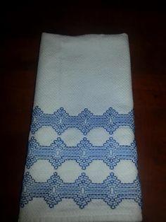 Blue Swedish Weaving on Huck Tea Towel by OuiOuiQueenBee on Etsy, $11.00
