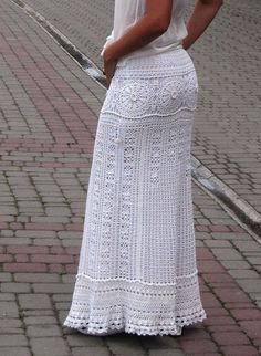 White maxi skirt wedding skirt bohemian skirt white by TaramayKnit