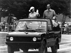 Queen Elizabeth and H.R.H. Duke of Edinburgh in Hillsborough Park during their  Silver Jubilee Royal Visit
