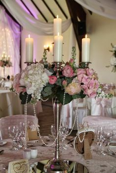 Our Baroque Candelabra filled with Stocks, Roses, Peonies, Hydrangeas, Tulips and Ranunculas