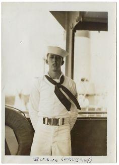 Vintage soft-focus photo of a young sailor standing on deck. Vintage Soft, Vintage Men, Old Photos, Vintage Photos, Vintage Sailor, Navy Life, Navy Sailor, Neckerchiefs, Retail Shop