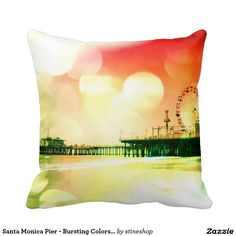 Santa Monica Pier - Bursting Colors Photo Edit Throw Pillows