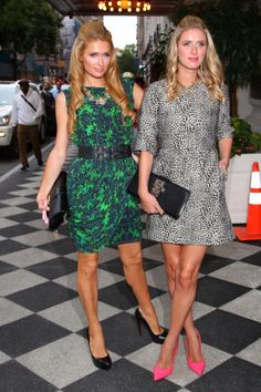 Paris and Nicky Hilton at the Alice & Olivia #NYFW show