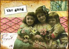 Altered Art: The Gang Vintage girls, 5x7 print - Mixed Media Art, Collage Art, Vintage photo, friend, girlfriend, pink, vintage children. $10.00, via Etsy.
