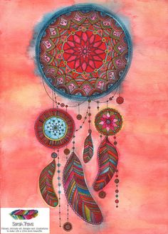 Intricate dreamcatcher painting in bright orange, red, cerise, peacock blue, khaki, turquoise and yellow watercolour with fine black ink detail