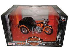 Maisto 3179 1947 Harley Davidson Servi-Car Black with Orange HD Custom Motorcycle Model Diecast Model Harley Davidson Merchandise, Diecast Models, Motorcycle, Amazon, Car, Black, Amazons, Automobile, Riding Habit