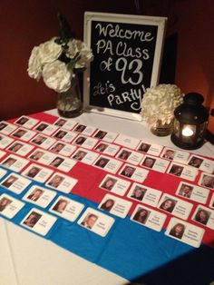 Class Reunion Decorations | Class reunion welcome table! Name tags and chalk board welcome sign ...