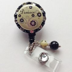 Cream Pearls & Flowers Personalized Bling Badge Holder - $10