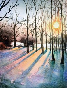 "| February | Winter twilight . . . ""woods watercolour"" by Nicola Cavalla"