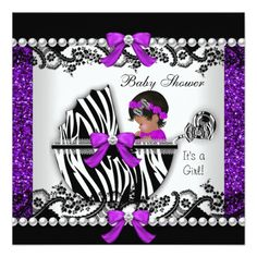 """Glitter African American Cute Baby Shower Baby Girl Purple Black Lace White Zebra Print Pram Pearl Lace Pearl Lace Bow Ribbon invitation, new baby, girl CLICK """"read more"""" for Matching products! Baby Girl Purple, Baby Shower Purple, Baby Shower Invites For Girl, Girl Shower, Baby Shower Cakes, Baby Shower Invitations, Shower Baby, Purple Tutu, Zebra Baby Showers"""