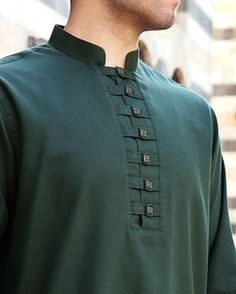 like the detail - just NOT green Gents Kurta Design, Boys Kurta Design, Kurta Neck Design, Mens Indian Wear, Indian Men Fashion, Mens Fashion Suits, Punjabi Kurta Pajama Men, Kurta Men, Kurta Designs