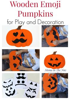 Emoji faces for kids to learn facial expressions and emotions. Wooden wall plaques for fall and quiet emoji toddler and preschool activity. Halloween Activities For Kids, Halloween Books, Halloween Crafts, Halloween Decorations, Crafts For Kids, Halloween Games, Halloween Ideas, Happy Halloween, Wooden Pumpkins