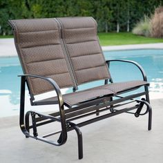 Coral Coast Del Rey Padded Sling Outdoor Glider Loveseat Bronze - SS-PBDG04A-B2037