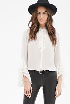 Tiered Flounce-Sleeved Blouse | LOVE21 - 2000080979