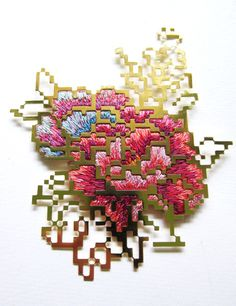 Floral embroidery with metalwork by Heng Lee - Amazing!