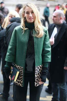 Emerald jacket with leopard trim.