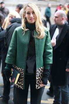 Emerald jacket with leopard trim.