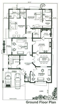 Amazing Beautiful House Plans With All Dimensions - Engineering Discoveries 40x60 House Plans, House Layout Plans, Bungalow House Plans, Dream House Plans, House Layouts, House Floor Plans, Home Map Design, Home Design Floor Plans, House Design