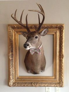 Frame the deer head with gold frame and bow tie (diy christmas room decor deer heads) Deer Mount Decor, Deer Head Decor, Deer Skulls, Cow Skull, Deer Mounts, Skull Decor, Animal Heads, Lodge Decor, Horn