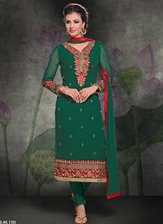 Graceful Green Embroidery Work Georgette Churidar Suit #Suits #Salwar   http://www.angelnx.com/Salwar-Kameez