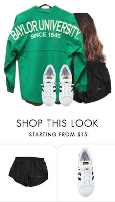 """""""Teal looks pretty with brown hair"""" by aweaver-2 on Polyvore featuring NIKE and adidas"""