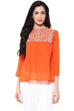 aaa88dfd34c The Vanca Women s Orange Rayon Top Latest Tops