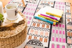 Use a yard of fabric to DIY this cool rug.