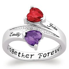 www.palmbeachjewelry.com  ITEM# 50267  Sterling Silver Couple's Birthstone Heart Name Ring with Diamond Accent