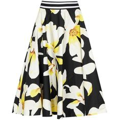 Alice + Olivia Dianna Floral-print Cotton Midi Skirt (325 BRL) ❤ liked on Polyvore featuring skirts, bottoms, midi skirt, white floral skirt, white knee length skirt, cotton midi skirt and striped skirts